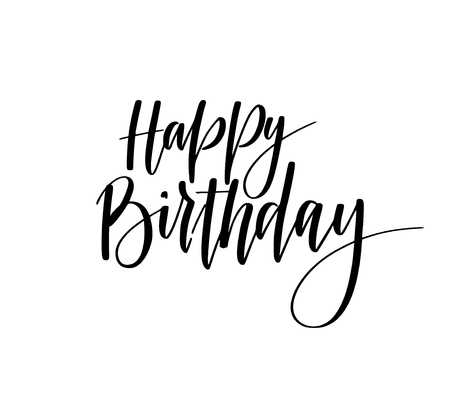 Happy birthday hand-drawn calligraphy lettering design for greeting card, poster, t-shirt or mug