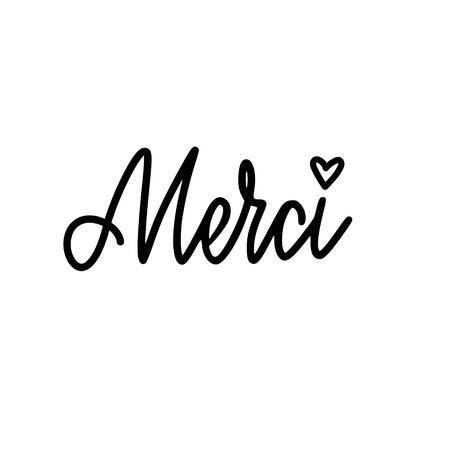 Vector calligraphy design thank you in French. Merci lettering for prints, posterd, banners, cards
