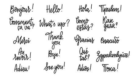 Set of hand-written doodle lettering words and phrases in Russian, English, Spanish and French Reklamní fotografie - 125946562