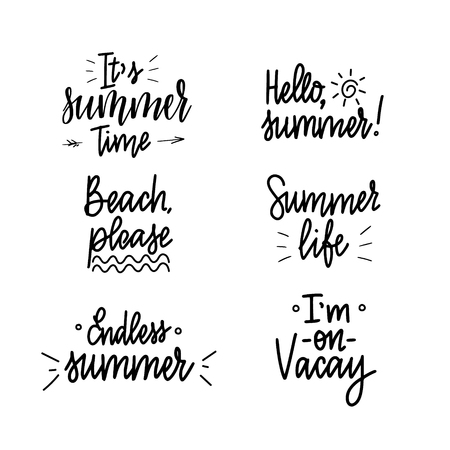 It is summer time lettering inspiraiton quote design set