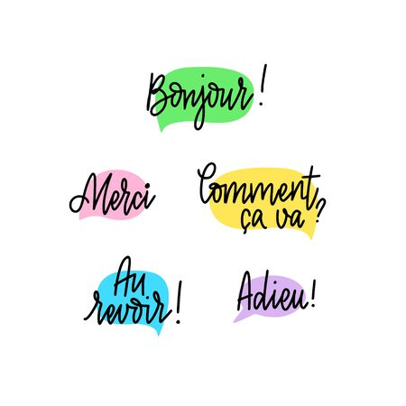 Set of hand-written doodle lettering words and phrases in French