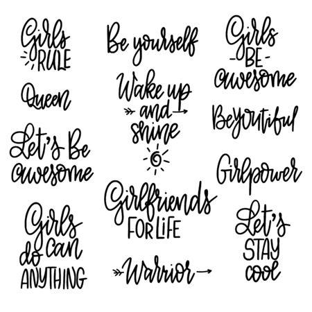 Satz motivierende Mädchenphrasen. Zitate für Drucke, Tassen, Poster. Feminismus und Frauenfreundschaft