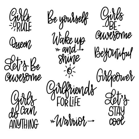 Set of motivational girl phrases. Quotes for prints, mugs, posters. Feminism and woman friendship Ilustracja