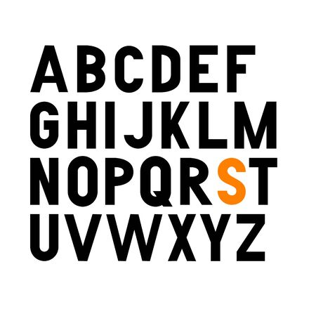 Vector bold condensed grotesque font. Uppercase letters only Ilustracja