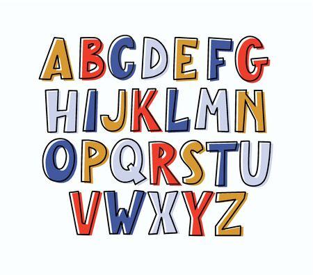 Fun modern  bulky doodle uppercase alphabet.