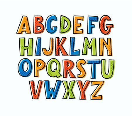 Fun modern  childlike bulky doodle uppercase alphabet. 일러스트