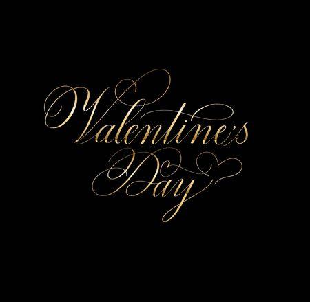 Valentine Day retro classic romantic calligraphy design. Pointed pen flourished illustration. Classy copperplate print Illustration