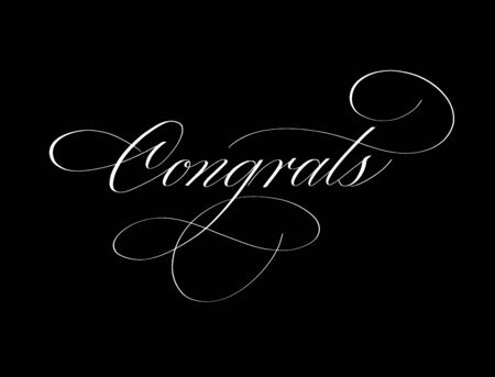 Congrats ink retro pen classy spencerian calligraphy word for school university graduation card