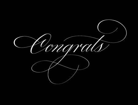 Congrats ink retro pen classy spencerian calligraphy word for school university graduation card