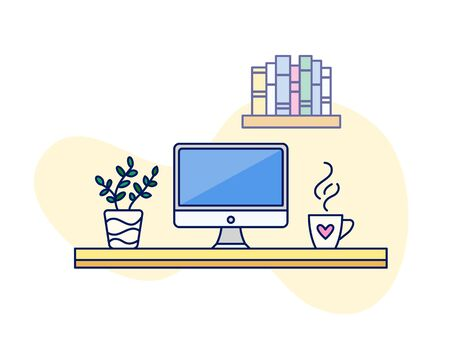 Home workplace vector cute line art illustration