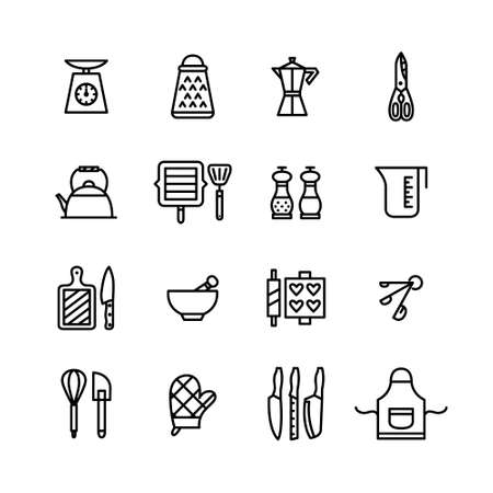 Thin line editable stroke kitchen utensils icons
