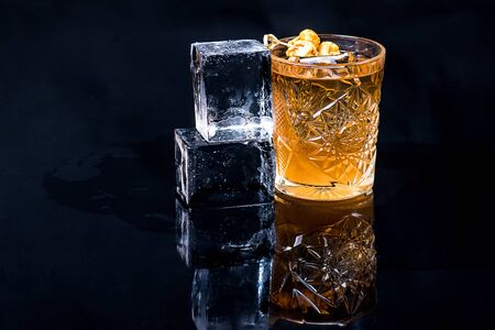 Cocktail on a dark background with decor Stockfoto