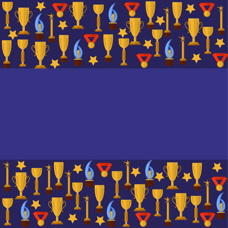 Blue templater with sport cups Banco de Imagens - 75555749