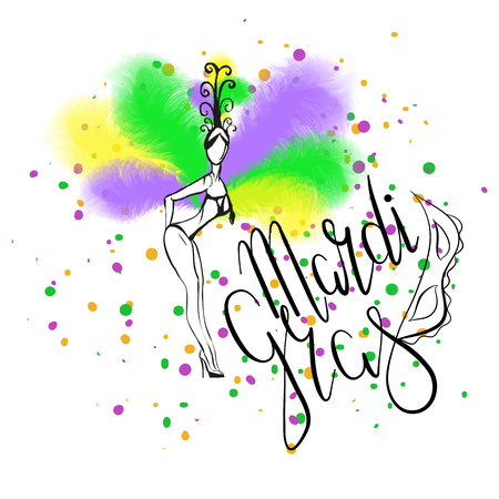 Lettering Mardi Gras with mask. Hand drawn girl with green, yellow and purple ostrich feathers. Vector. Carnival. Illustration