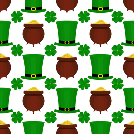 seamless clover: St. Patricka Day flat pattern.