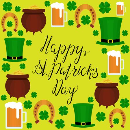 fourleaf: Lettering Happy St. Patricks Day with shamrock, green hat, beer and pot. Vector. Flat. Could be used for St. Patricks Day cards, invitations. Designe elements.