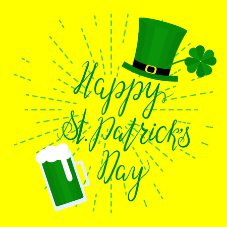 fourleaf: Lettering Happy St. Patricks Day with shamrock, green hat and beer. Hand written. Vector. Calligraphy inscription for St. Patricks Day cards, invitations, poster.