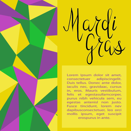 Lettering Mardi Gras with carnival mask on polygonal green, yellow and purple background. Vector. Template for cards, invitations. Illustration