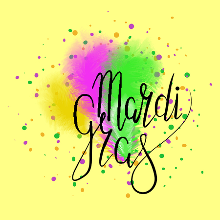 Lettering Mardi Gras with carnival mask, green, yellow and purple ostrich feathers on yellow background. Vector. Carnival.