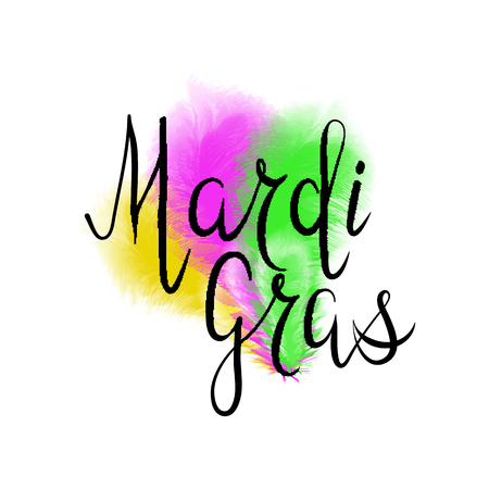 Lettering of Mardi Gras with yellow, green and purple ostrich feathers.