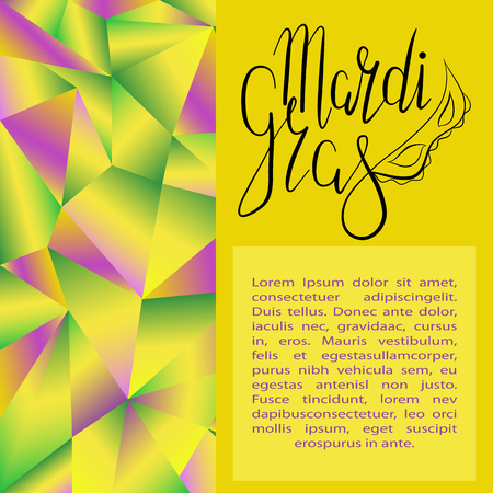 Lettering Mardi Gras with carnival mask on gradient polygonal green, yellow and purple background. Vector. Template for cards, invitations.
