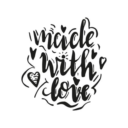 Letras hechas con amor. Dibujado a mano ilustración vectorial, brushpen. Cita de letras a mano para productos artesanales. Logotipo caligráfico para productos artesanales. Logos