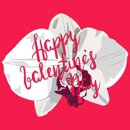 Lettering inscription Happy Valentines day with white hand drawn orchid on pink background vector quote. Romantic color tropical flower orchid with lettering for cards, posters for Valentines day.