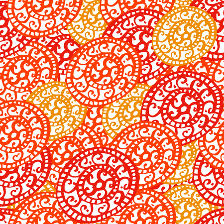 Round ornament seamless pattern. Vector. Yellow, orange, white. Seamless pattern for fabric background