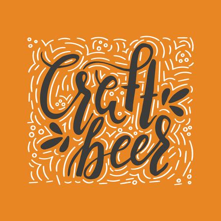 Brushed lettering inscription craft beer with ornament. Vector logo. Hand drawn illustration. Design element for restaurant, pub, beer fest.