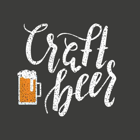 Brushed lettering inscription craft beer with beer glass. Vector logo. Hand drawn illustration. Design element for restaurant, pub, beer fest.