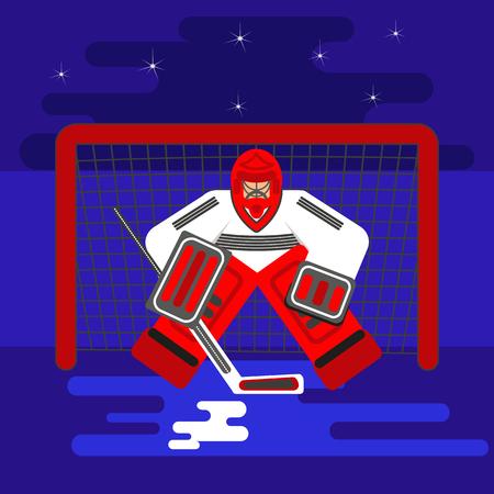 Hockey goalkeeper in flat stile protecting the gate.