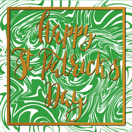 Digital green marble background. with with lettering inscription Happy St. Patricks Day. Design elements for St. Patricks Day cards, invitation, poster.
