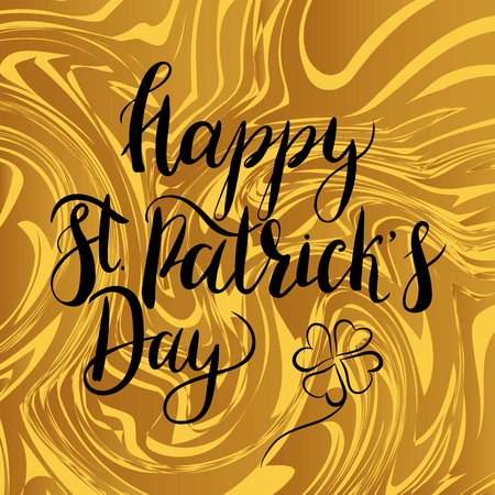 Digital golden marble background with lettering inscription Happy St. Patricks day. Design elements for St. Patricks day cards, invitation, poster.