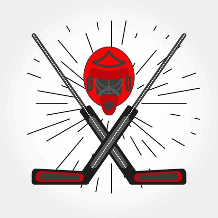 Hockey goalkeepers helmet and crossed sticks icon. Vector hockey symbol with goalie helmet and sticks.