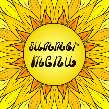Color sunflower isolated with summer menu templated text 向量圖像