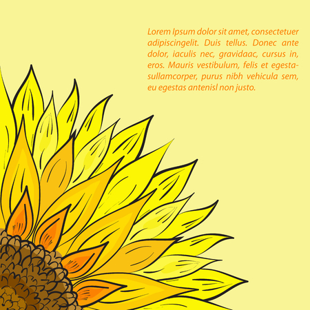Color sunflower on the lower left with templated text on the upper right.