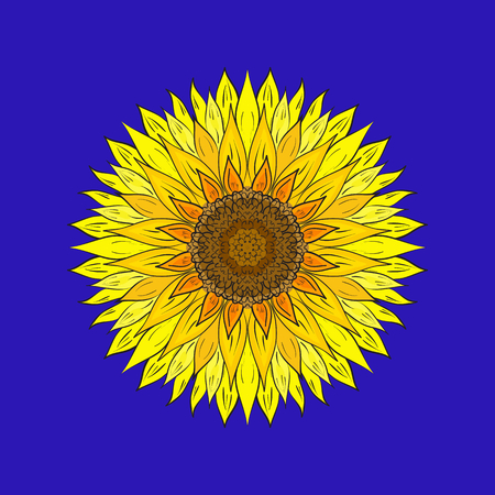 Sunflower art on blue background.