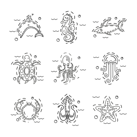 Dolphin, Seahorse, shark, turtle, octopus, jellyfish, crab, squid and starfish set of illustration 向量圖像