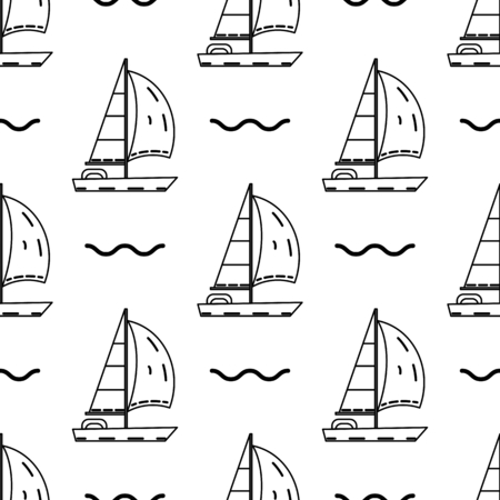 Sailing ship seamless pattern on black illustration 向量圖像