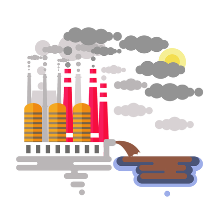 Water and air pollution with factory emitting  smoke and dumping waste
