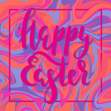 Marble background with calligraphy Happy Easter Vector illustration.