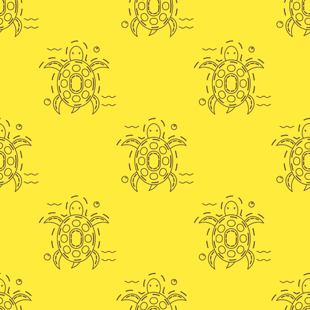 Seamless pattern with brown sea turtle in thin line stile on yellow background. Vector. 版權商用圖片