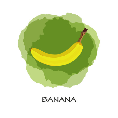 Isolated yellow banana on green background. Vector.