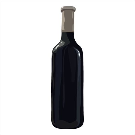 Bottle of red wine isolated. Vector. Watercolor imitation. Hand drawn. Isolated bottle of wine on white background. Stock Illustratie