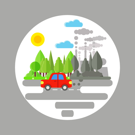 Ecology problem concept. Car and factories pollute the enviroment. Car and plant emitting smoke. Flat vector illustrarion of air pollution. Pollution clouds.