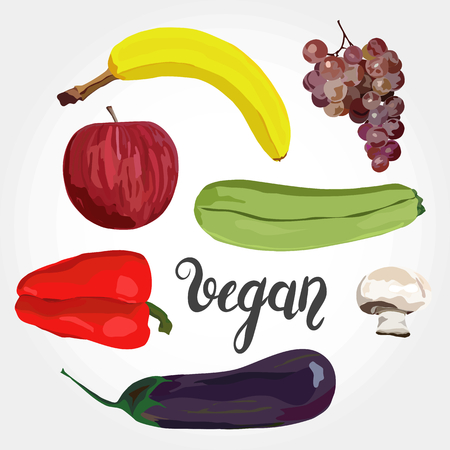 Fruit and vegetables. Vector. Hand drawn. Healthy eating vector concept. Vegan. Apple, banana, grape, eggplant marrow squash champignon red pepper Gradient background 向量圖像