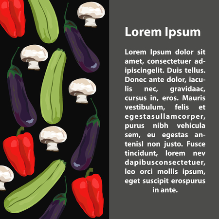 Fruit and vegetables. Vector. Hand drawn. Template. Eggplant, marrow squash, champignon, red pepper Black and gray background 向量圖像