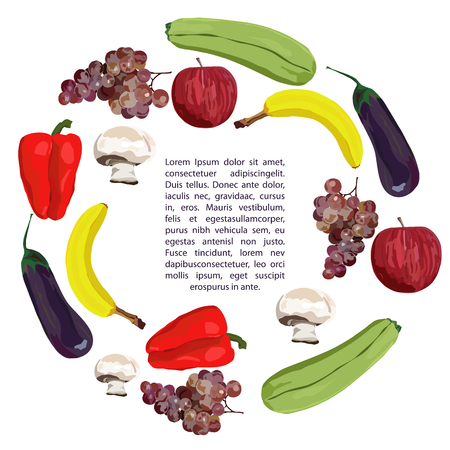 Fruit and vegetables. Vector. Hand drawn. Healthy eating vector concept. Vegan. Apple, banana, grape, eggplant, marrow squash champignon red pepper Template White background