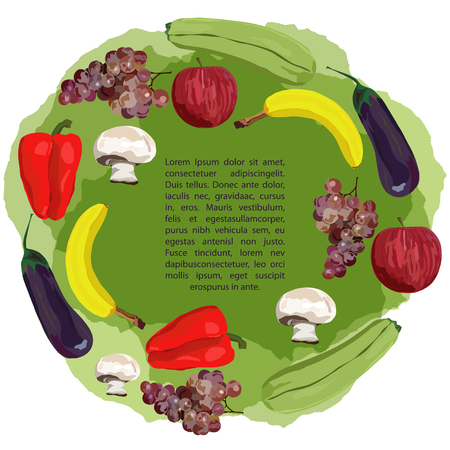 Fruit and vegetables on green background. Vector. Hand drawn. Healthy eating vector concept. Vegan. Apple, banana, grape, eggplant, marrow squash, champignon red pepper Template White background Vectores