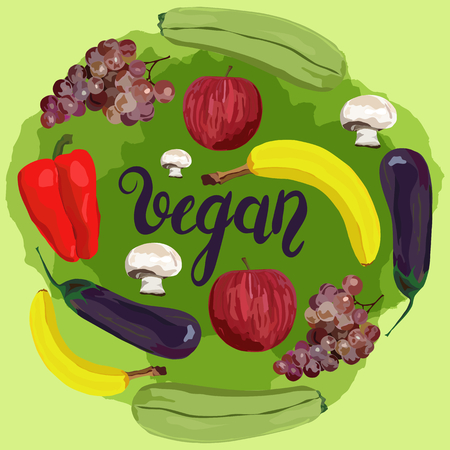 Fruit and vegetables. Vector. Hand drawn. Healthy eating vector concept. Vegan. Apple, banana, grape, eggplant marrow squash champignon red pepper Green background 向量圖像